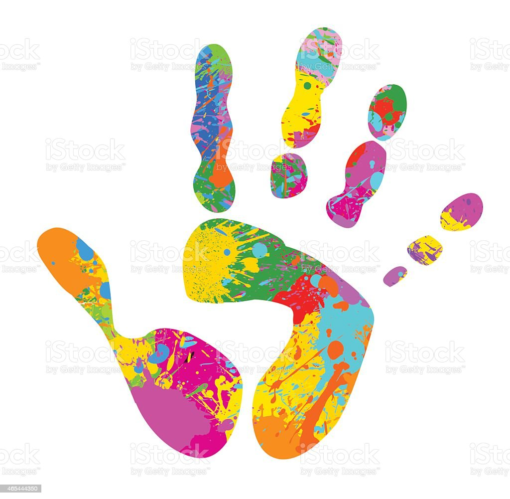 colourful handprint stock vector art more images of 2015 465444350 rh istockphoto com handprint vector graphic handprint vector clipart