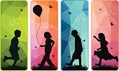 Vector silhouettes  group of happy children playing on meadow colourful abstract background