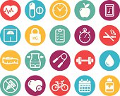 Colourful healthy lifestyle and fitness icons