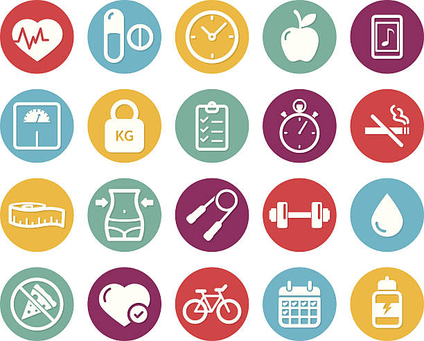 colourful healthy lifestyle and fitness icons - workout calendar stock illustrations, clip art, cartoons, & icons
