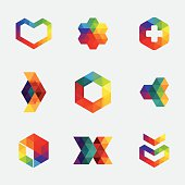 Different type multi coloured hexagon logos and icons. Aics3 and Hi-res jpg files are included.
