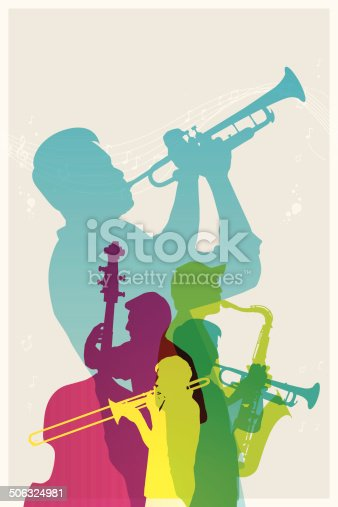 Colourful jazz band. EPS10. This illustration contains transparent and blending mode objects. Included files; Aics3 and Hi-res jpg.