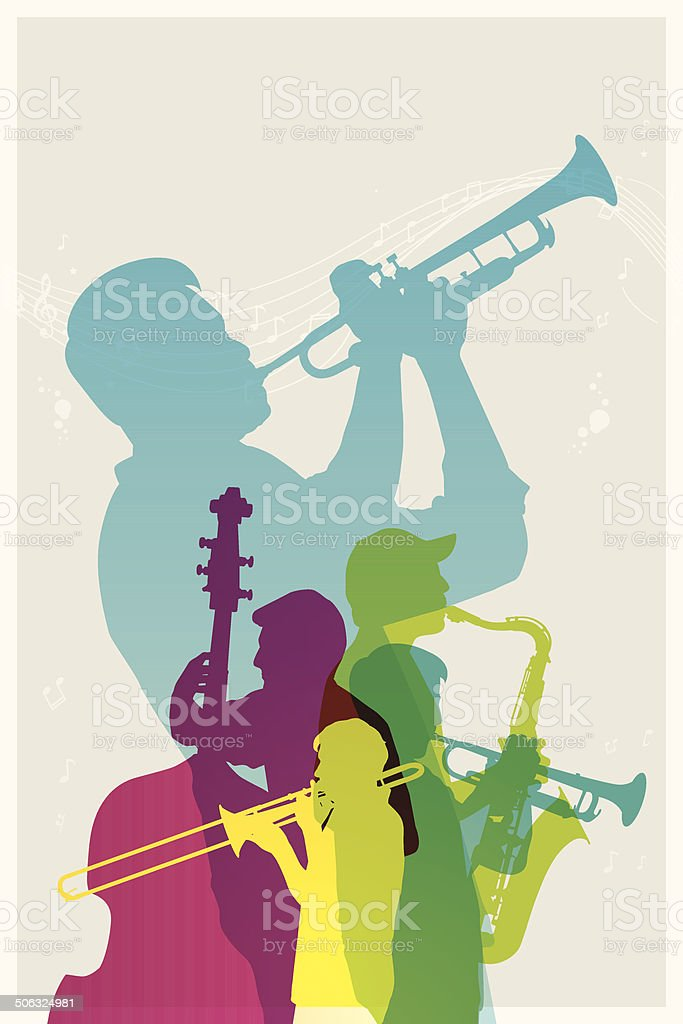 Coloridos Jazz band - ilustración de arte vectorial