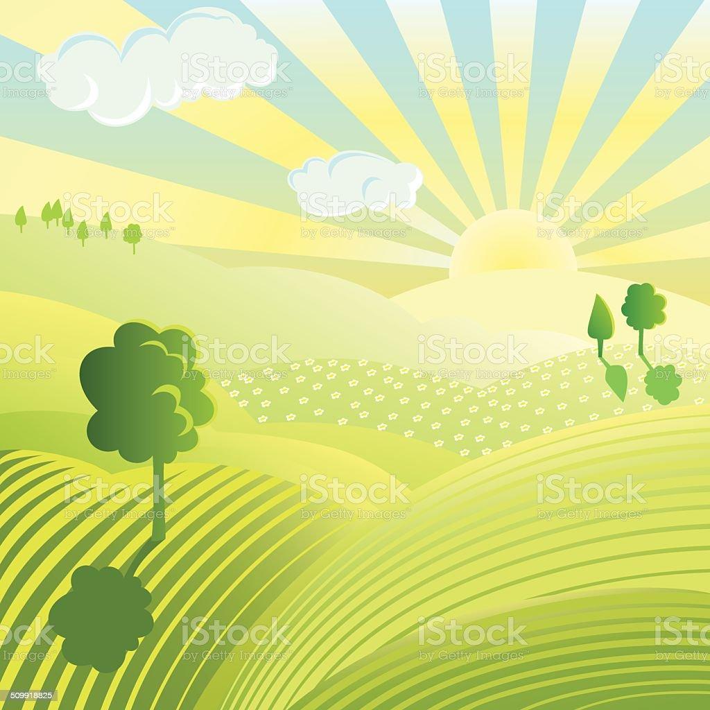 Colourful landscape vector art illustration