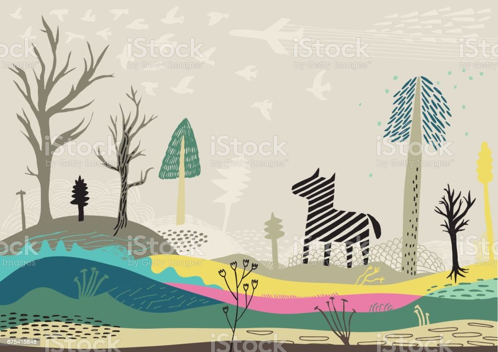 Colourful landscape with zebra, birds and trees vector art illustration