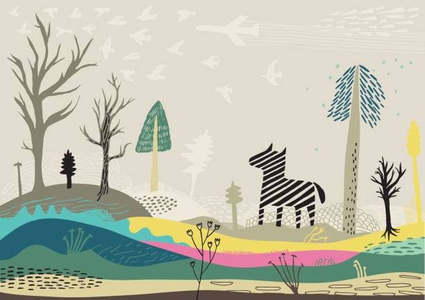 colourful landscape with zebra, birds and trees - wildlife travel stock illustrations, clip art, cartoons, & icons