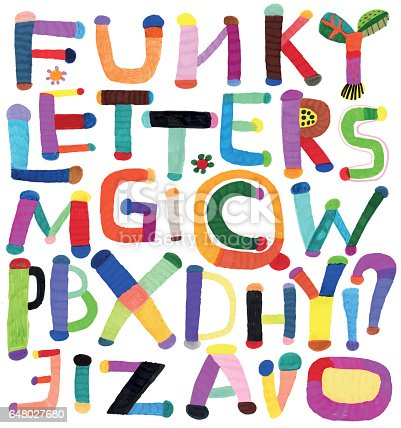 Felt tip pen drawn letters