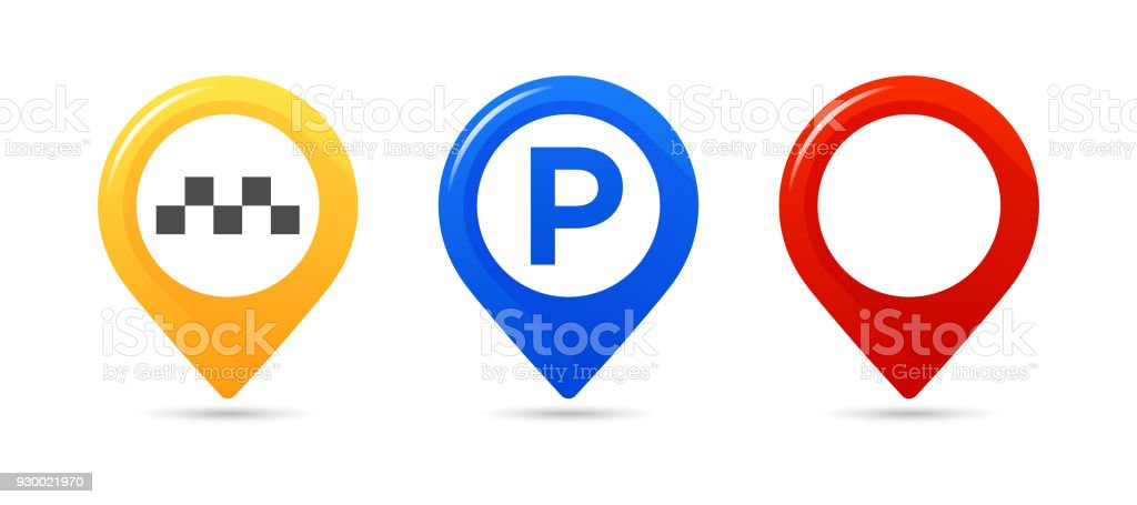 Colourful map pointers. Map pointer, map parking pointer, map taxi pointer. vector art illustration