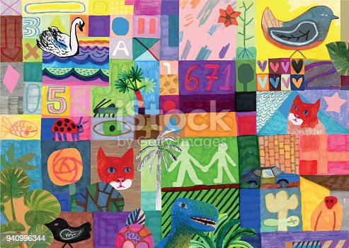 Colourful mixed media collage background pattern. Collection of things.  Life in general. Abstract pattern.
