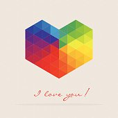 Colourful mosaic heart shape  with text. Eps10. Contains blending mode objects.