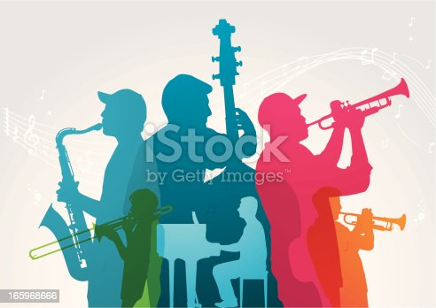 Colourful music band. Musical band and notes are on different layers. Can be separated. Simple gradient was used. Included files; Aics3 and Hi-res jpg.