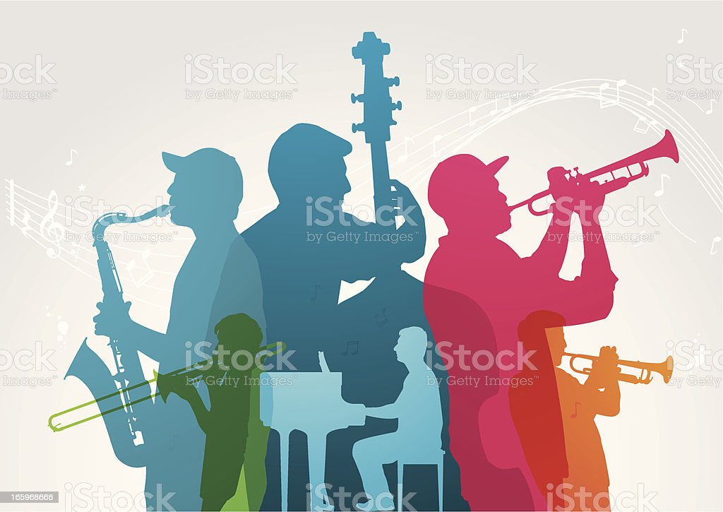 Colourful music band vector art illustration