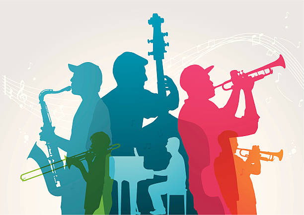 stockillustraties, clipart, cartoons en iconen met colourful music band - blaasinstrument