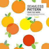 Colourful orange pattern template. Orange fruit pattern background. Vector design for flyers, web banner, invitation, posters.