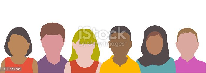 istock Colourful overlapping silhouettes of childrens head 1211453794