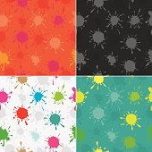 Colourful paint splatters seamless pattern set. EPS10. 4 different colour themes. Jpg files of each colour is included in the
