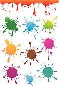 Colourful paint splatters set with a seamless splash border.Included files; Eps8, Aics3 and 300dpi jpg.