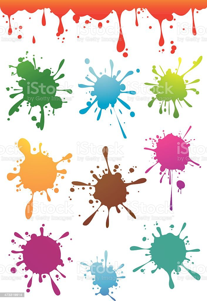 Colourful paint splatters set vector art illustration