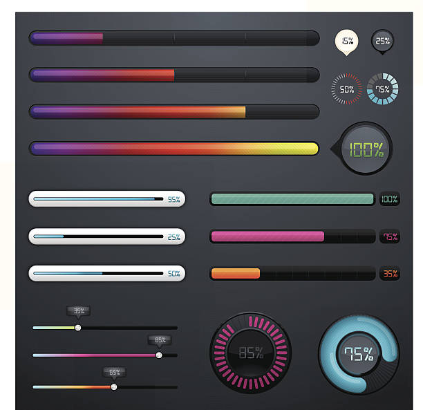 Colourful progress bars vector art illustration