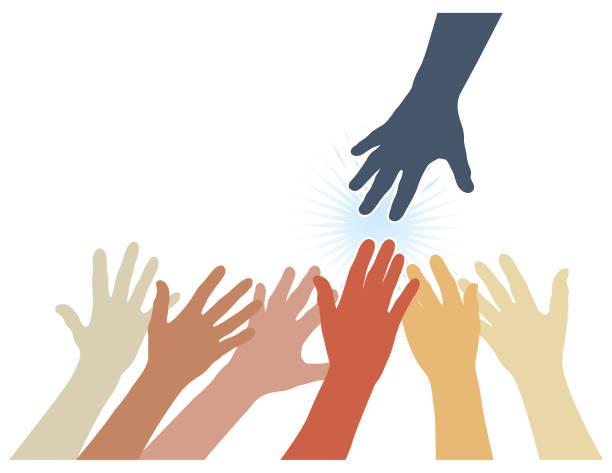 Colourful reaching hands vector vector art illustration