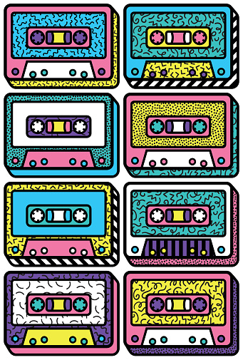 A colourful retro audio cassette design  design, vector illustration