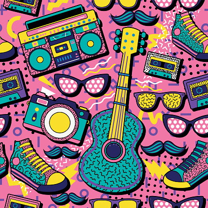 A colourful retro poster design with a boom box, guitar, camera, trainers and sunglasses on a vivid geometric background,  design, vector illustration