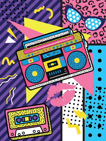 A colourful retro the 90s rock poster design with boom box and audio cassette on a vivid geometric background,   design, vector illustration