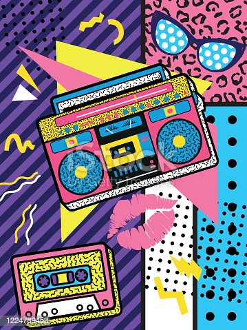 A colourful retro the 90s rock poster design with boom box and audio cassette on a vivid geometric background,   design, vector illustration.