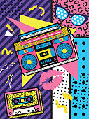 istock A colourful retro the 90s rock poster design with boom box and audio cassette on a vivid geometric background,   design, vector illustration 1224789453