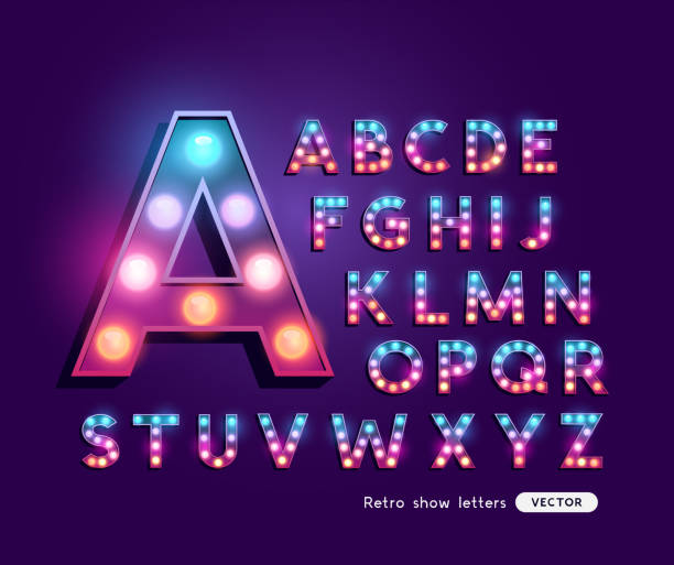 Bunte Retro-Theater Buchstaben Alphabet – Vektorgrafik