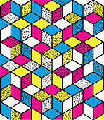 A colourful retro we are the 90s poster or page design with a patterned cube background, vector illustration