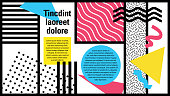 A colourful retro we are the 90s poster or website page design with a patterned background,  design, vector illustration