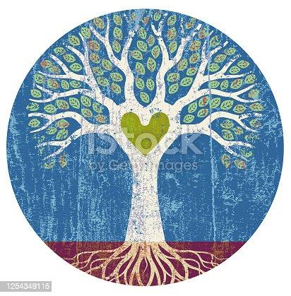 istock Colourful round tree illustration 1254349115