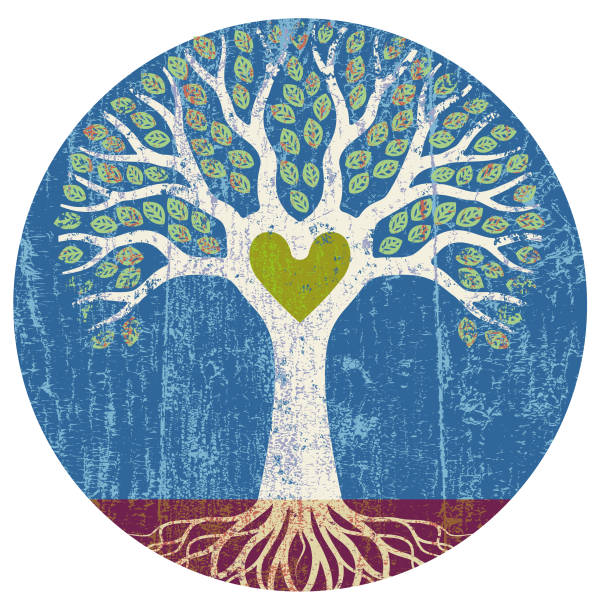 Colourful round tree illustration vector art illustration