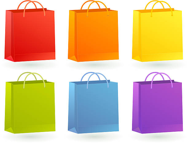 Colourful Shopping Bags vector art illustration