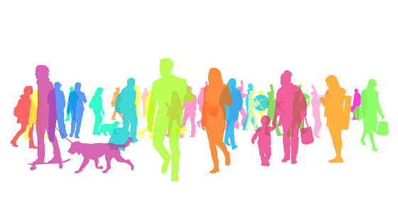Colourful Silhouette Crowd Of People