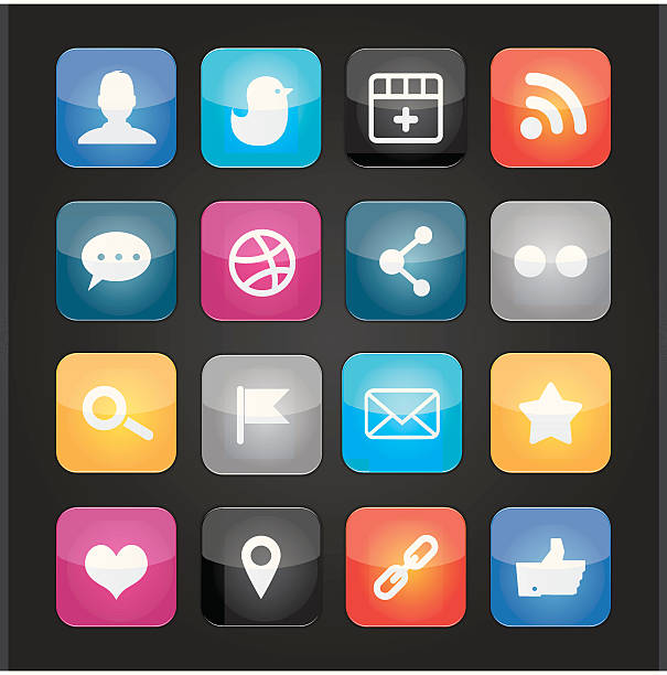 colourful social media icons vector art illustration