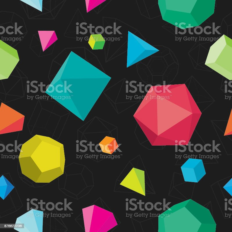 Colourful solids seamless pattern on black vector art illustration