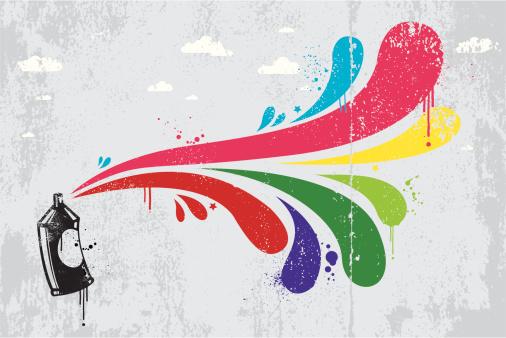 Colourful spray graffiti background