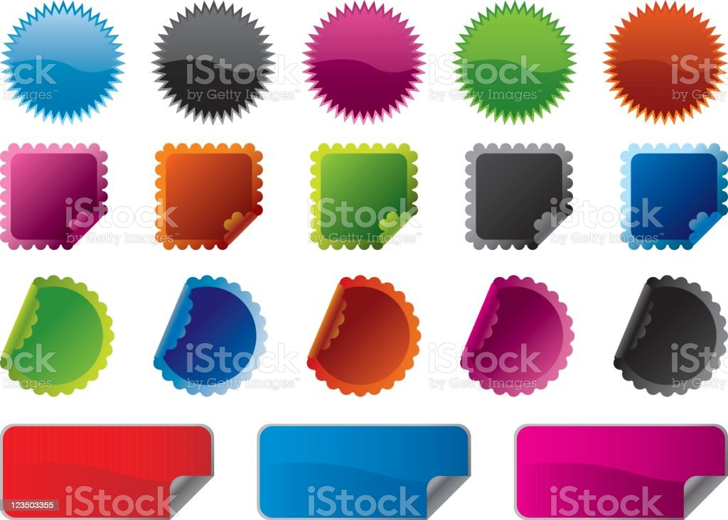 Colourful stickers royalty-free colourful stickers stock vector art & more images of black color
