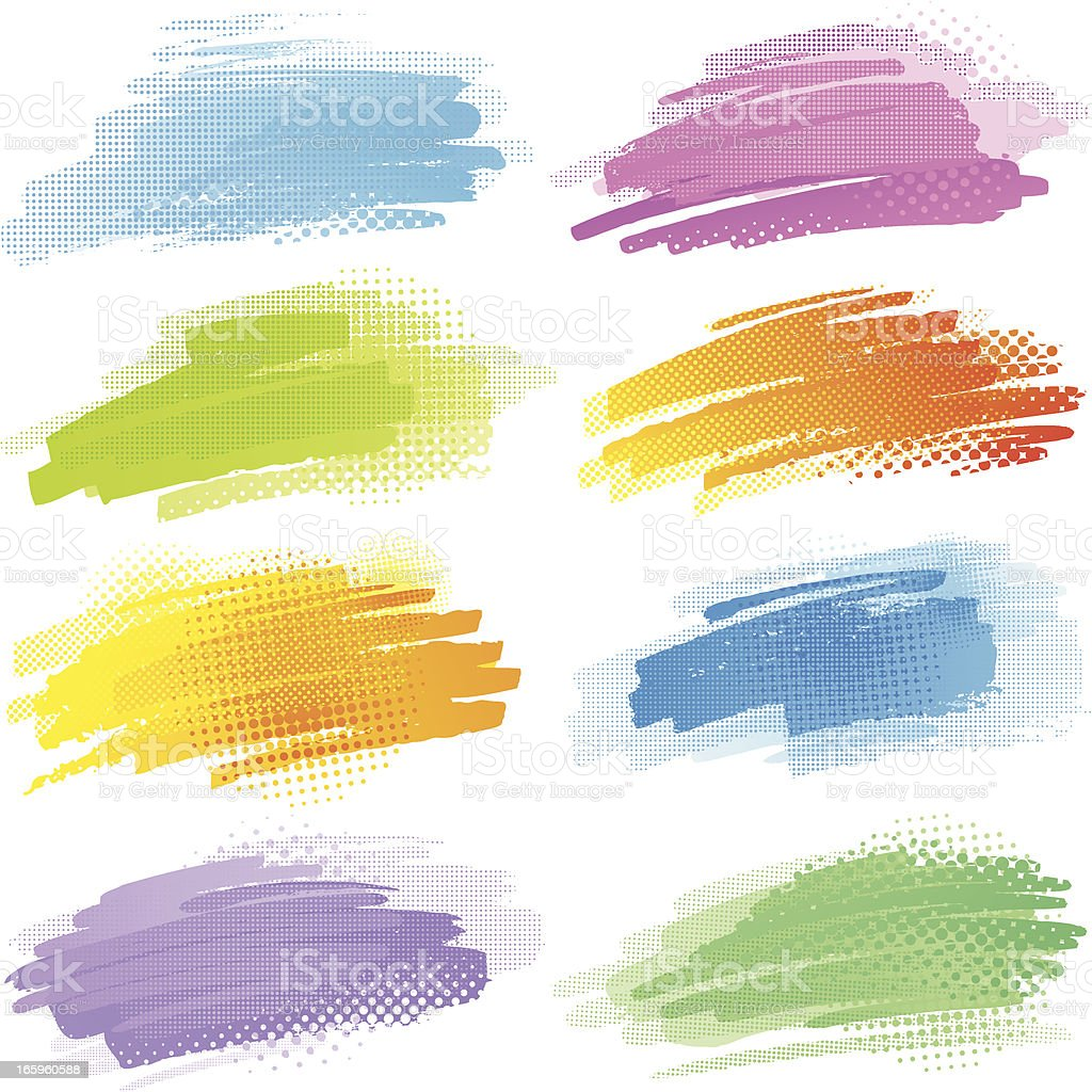 Colourful strokes with halftone pattern royalty-free stock vector art