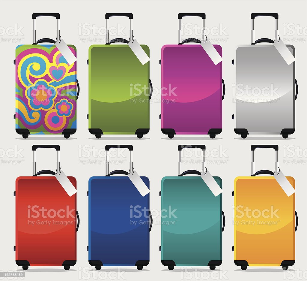 Colourful Suitcase Collection vector art illustration