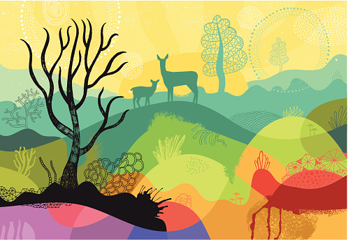 Colourful sunny landscape with plants, trees and deers