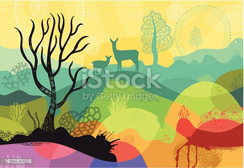 Colourful vector illustration of  abstract landscape with different hand drawn trees, plants and animals