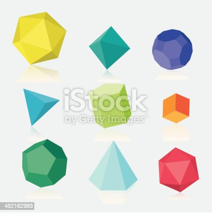 Colourful three dimensional solids. Hi-res jpg file is included.