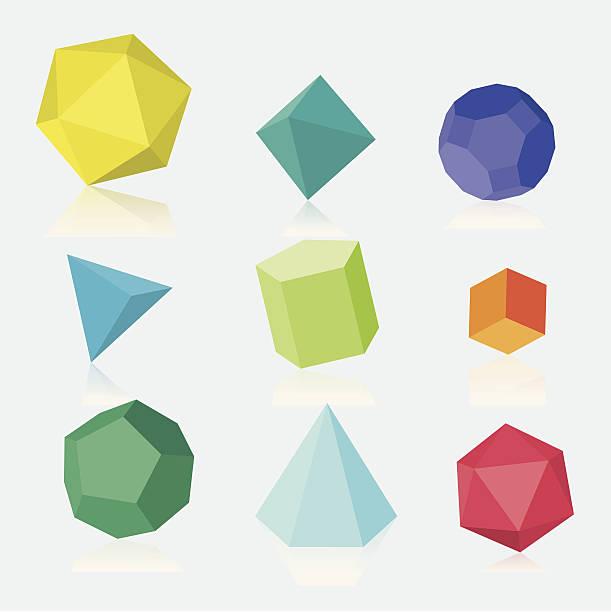 stockillustraties, clipart, cartoons en iconen met colourful three dimensional solids - veelvlakkig
