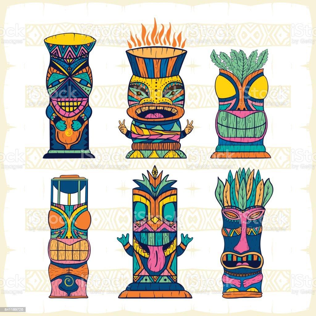 Colourful Wood Polynesian Tiki idols, gods statue carving. Vector illustration vector art illustration