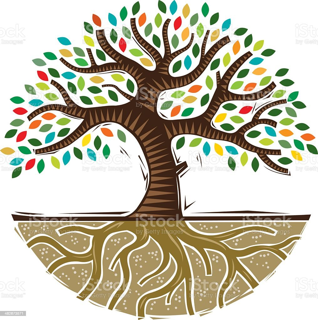 Colourful woodcut tree vector art illustration