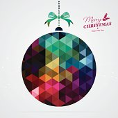 Colourful Christmas decoration ball with text. Text and design elements are on different layers, grouped.  Aics3 and Hi-res jpg files are also included.