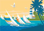 Colourful Yachts with spinnakers, racing on blue ocean, with seagulls, lighthouse and palm trees in a tropical setting. Art on easily edited layers.